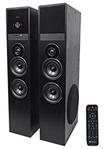 "Rockville TM80B Black Home Theater System Tower Speakers 8"" Sub/Bluetooth/USB"