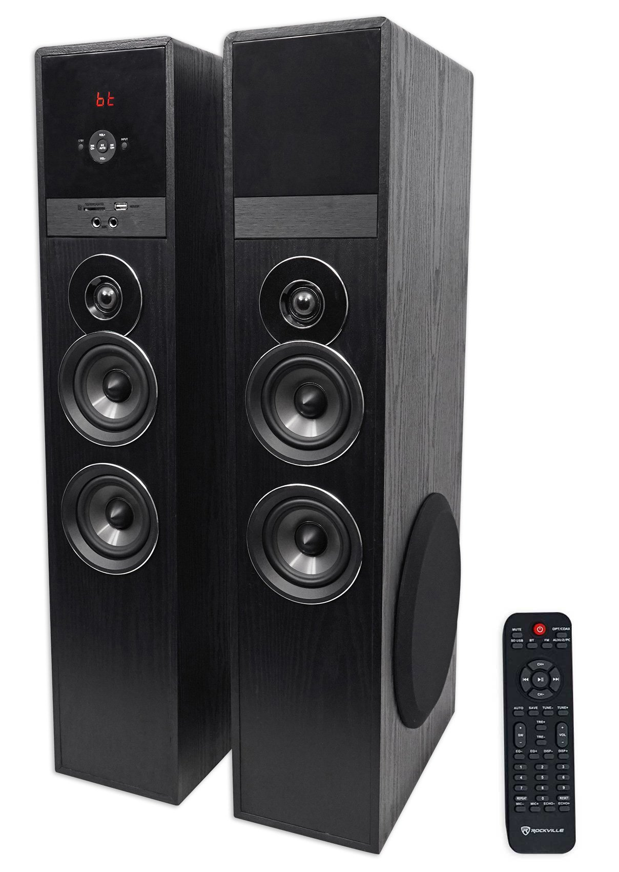Rockville TM80B Bluetooth Home Theater Tower Speaker System w/ (2) 8'' Subwoofers!