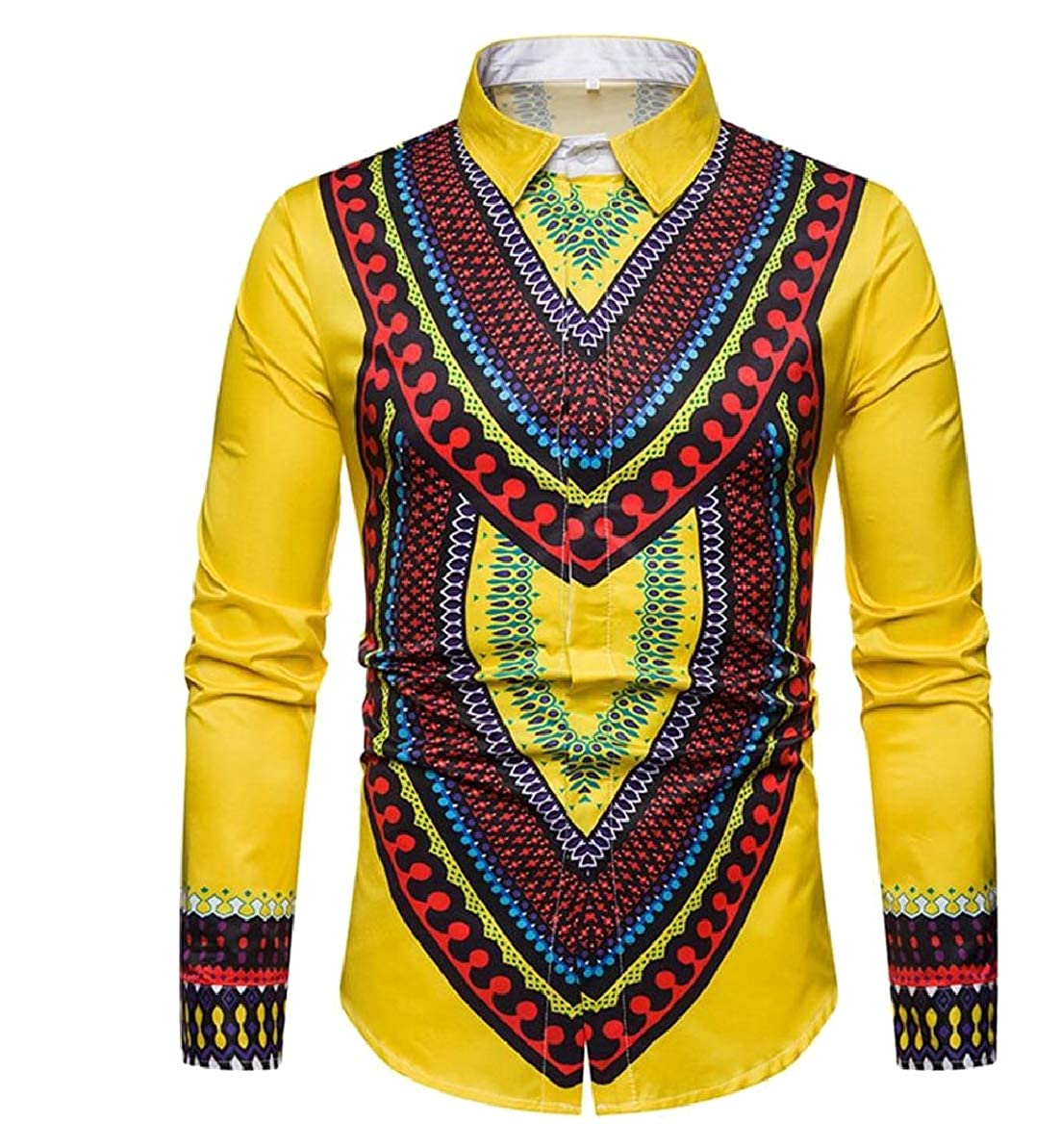 FLCH+YIGE Mens African Print Dashiki Classic Shirts Long Sleeve Button Down Shirt