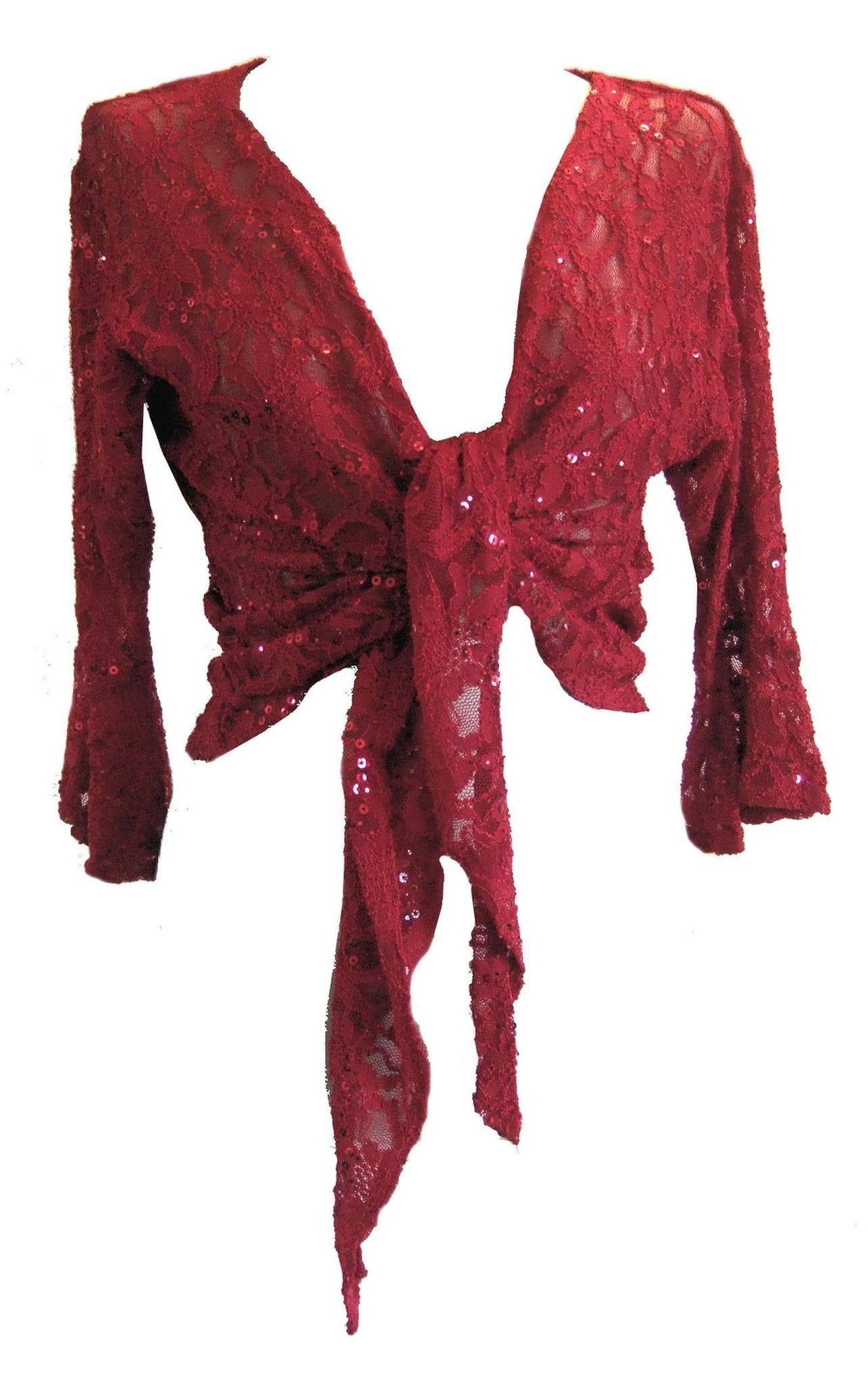 Red Sparkly Sequin Lace Front Tie Evening Bolero Shrug. Size 14/16