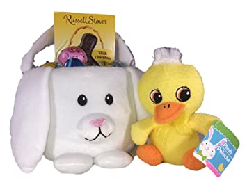 Easter Gift Basket Toddler Bundle - Milk Chocolate Candy Rabbit, 5 Plastic Pearlized & Two