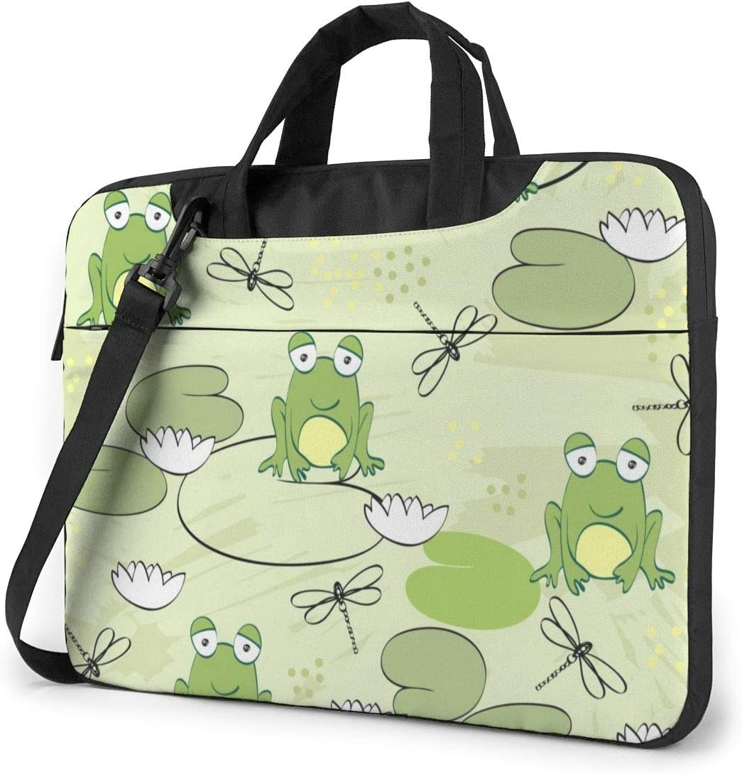 Water Lily Frog Pond Laptop Case 15.6 Inch Carrying Case with Strap