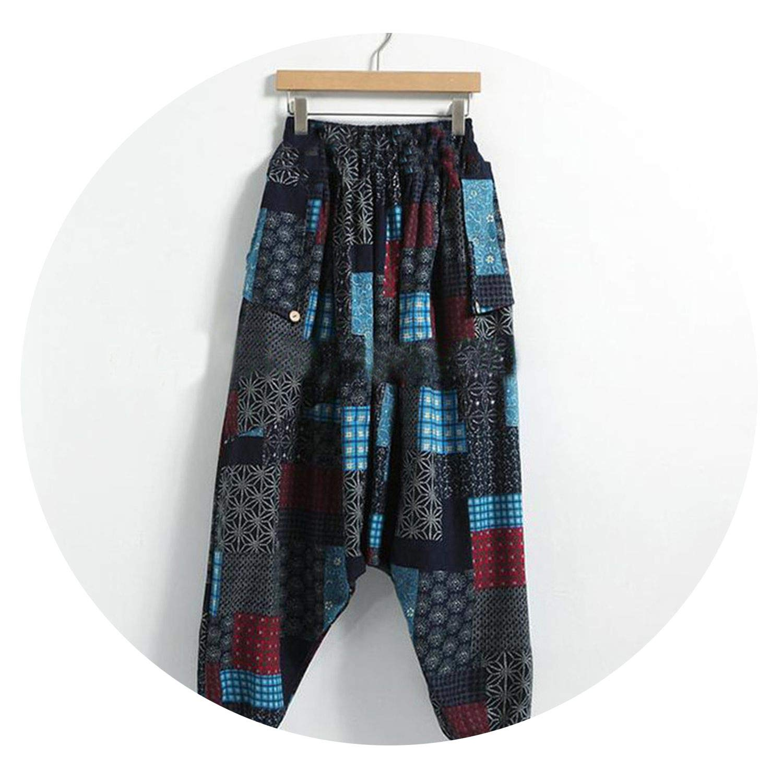 Drop Crotch Pants Men Print Hip-hop Cotton Loose Vintage Men Pants Casual Trousers Men Streetwear S-5XL