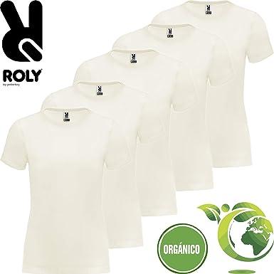 Camiseta Algodón Orgánico | Pack 5 | Manga Corta | Mujer: Amazon ...