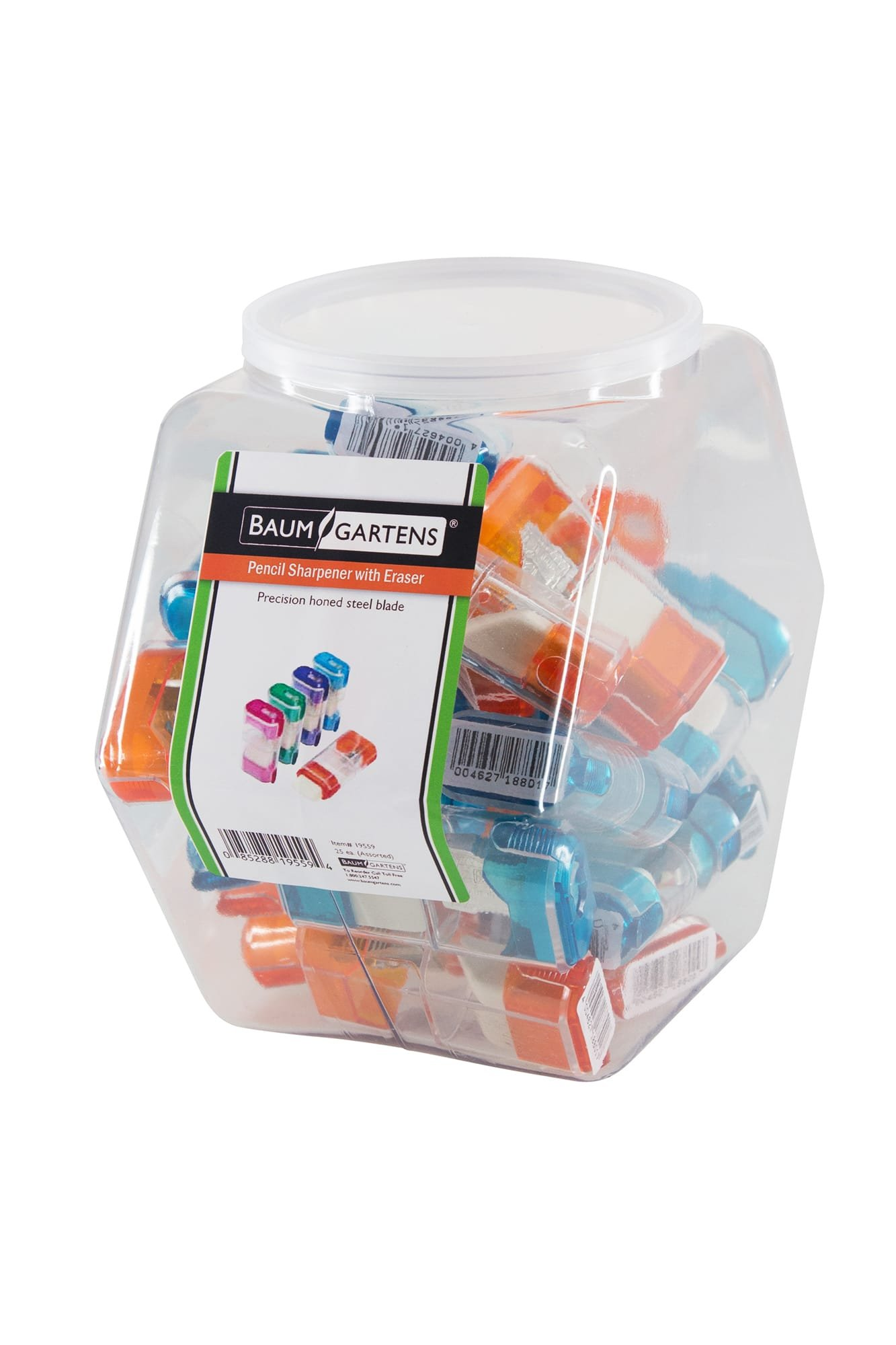 Baumgartens Pencil Sharpeners Trap Door with Eraser Single Hole Hexagonal Tub Display of 25 Assorted Colors (19559)