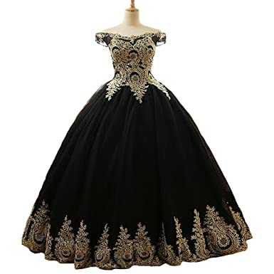 Yuxin Gold Appliques Off The Shoulder Black Ball Gown Lace Prom Dresses Plus Size Princess Long