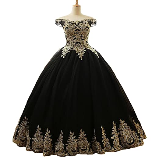 Yuxin Gold Appliques Off The Shoulder Black Ball Gown Lace Prom