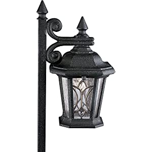 Progress Lighting P5276-71 12-Volt Die Cast Path Light with Tiffany Art Glass, Gilded Iron