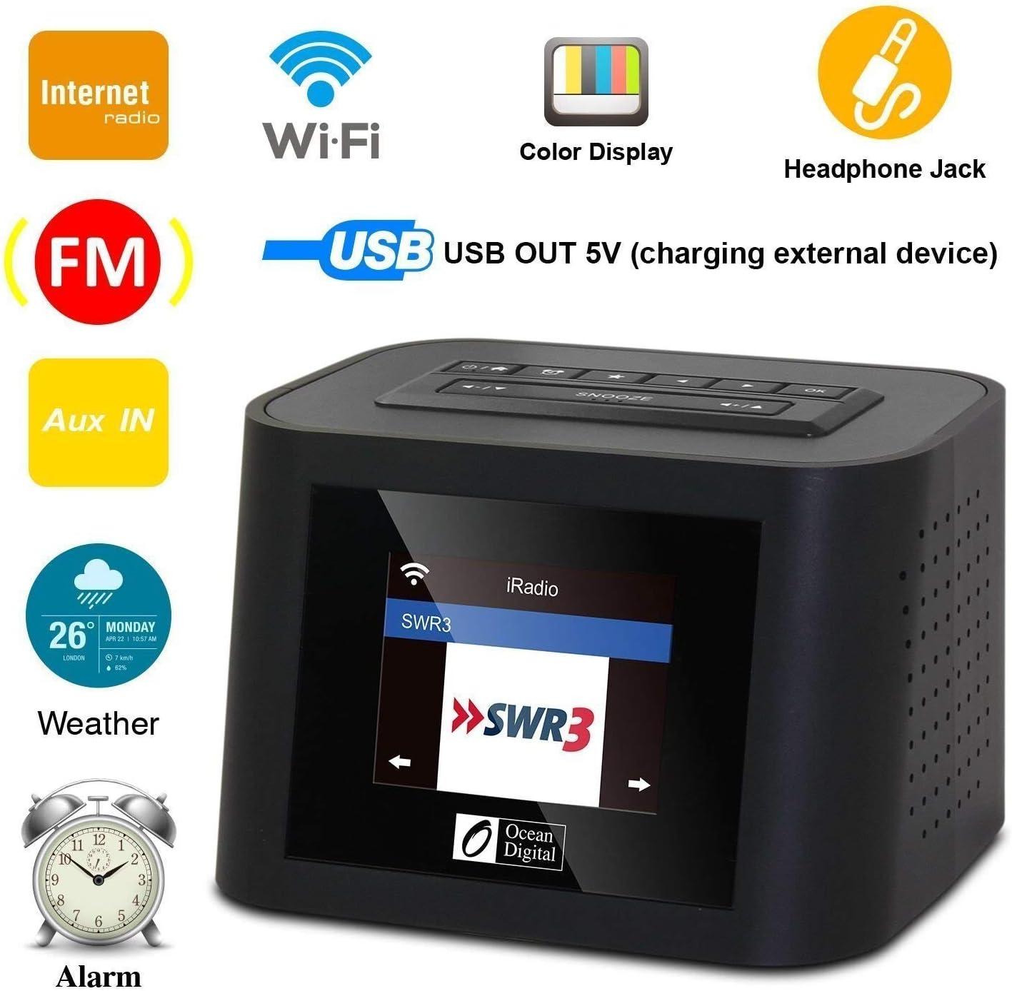 Ocean Digital Wi-Fi Internet Radios WR828F FM Receiver with Airmusic Control APP & Sleep Radio- for Sleeping & Relaxation Alarm Clock Stereo Dual ...