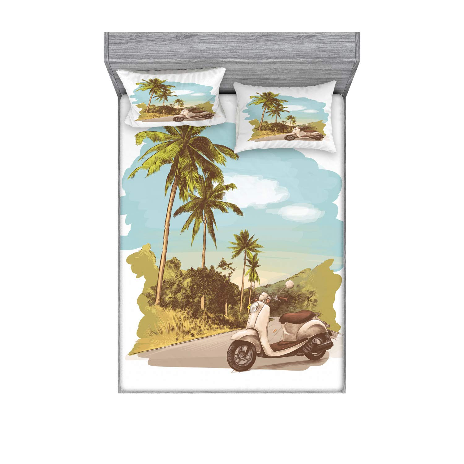 Ambesonne Retro Bedding Set with Sheet & Covers, Faded Effect Vintage Scooter Stands on The Road Jungle with Palm Trees on The Edges, Printed Bedroom Decor 2 Shams, Queen, Multicolor by Ambesonne