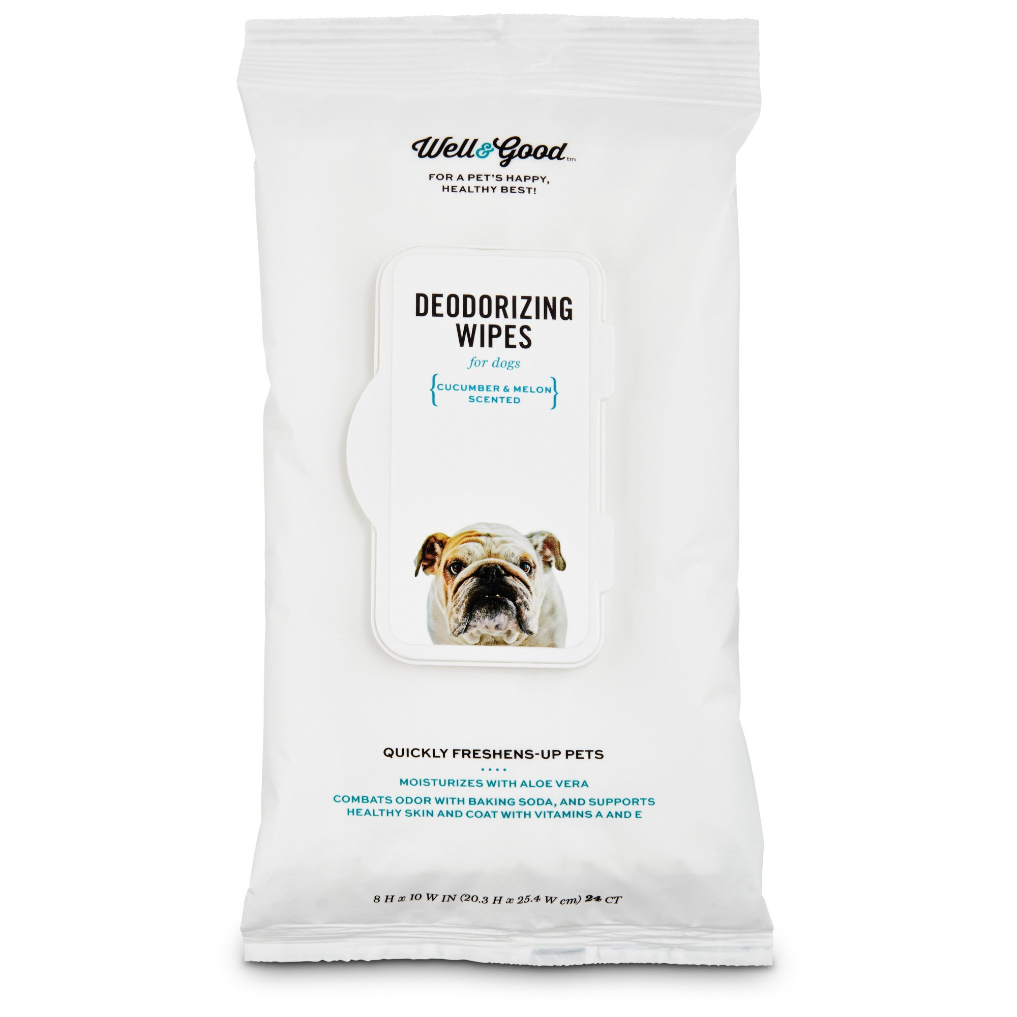 Well & Good Cucumber Melon Deodorizing Dog Wipes, Pack of 100 wipes