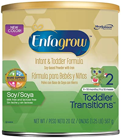 Enfagrow Soy Toddler Formula-Powder-20 Ounces-4 Pack