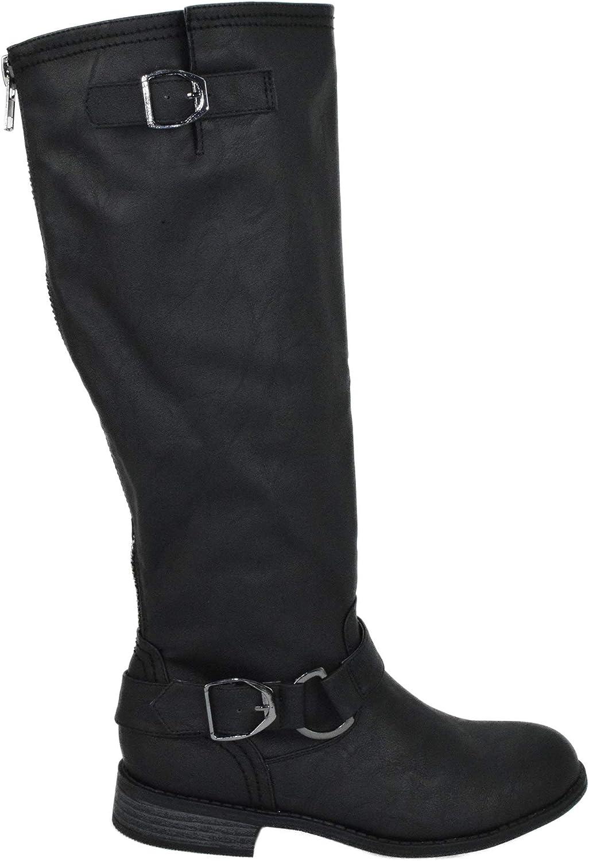 Wild Diva Lounge Women Flat Riding Knee High Boots Buckled Back Zipper OKSANA-84