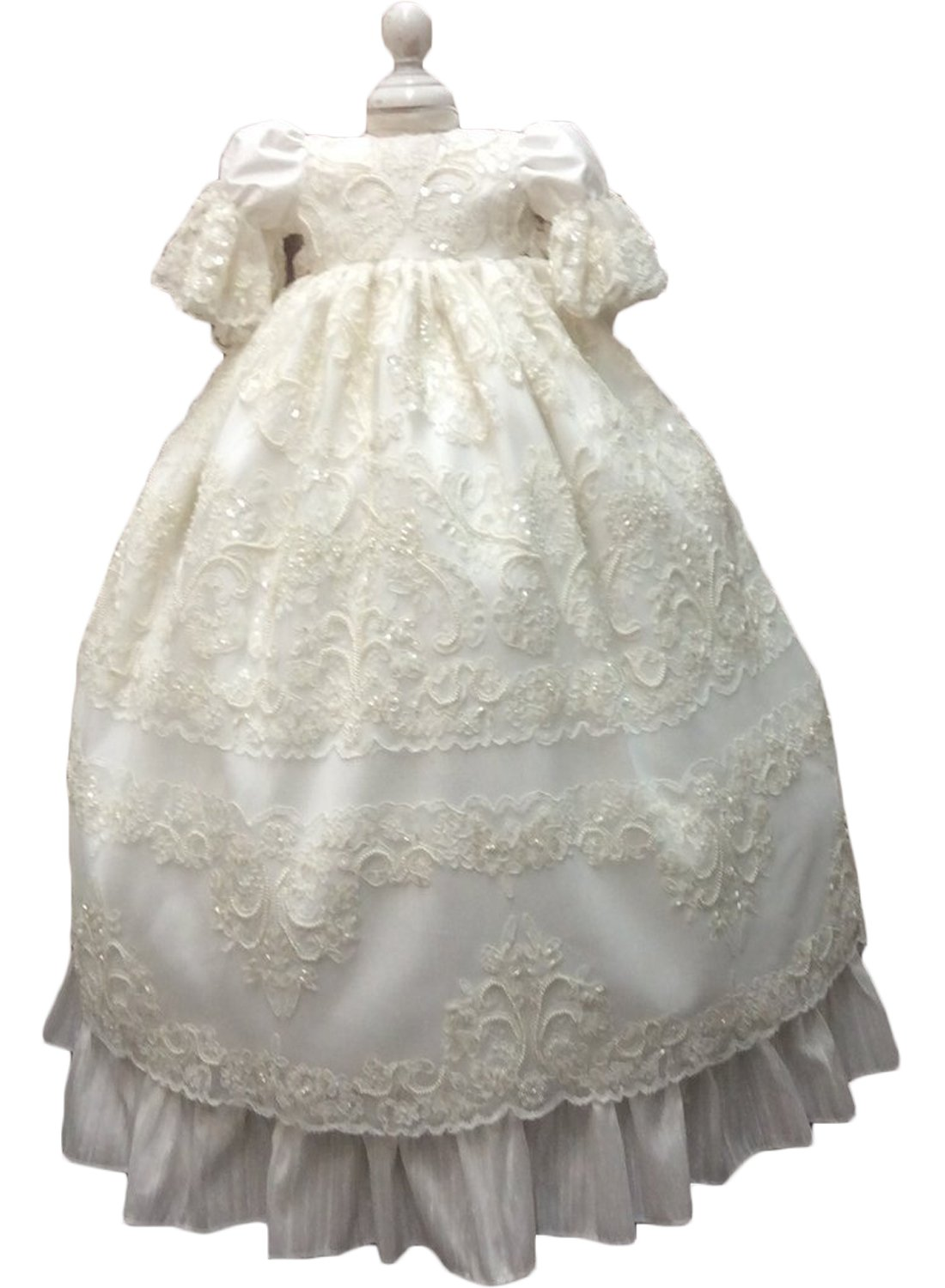 Newdeve Baby Girls Special Occasion Dress For Christening Baptism Wedding Birthday (6-9 Months, Ivory)