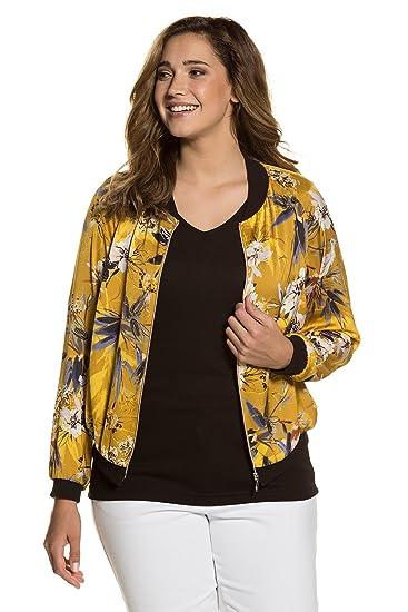 be5fdf78e32 Ulla Popken Women s Plus Size Oriental Floral Print Blouson Jacket Mustard  Yellow Multi 20 22 712264 42-46+  Ulla Popken  Amazon.co.uk  Clothing