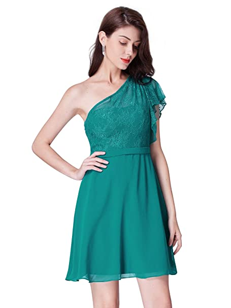 3d9cbfc37dcf Ever Pretty Womens Elegant One Shoulder Above Knee Chiffon Short Bridesmaid  Dresses 03001  Amazon.co.uk  Clothing