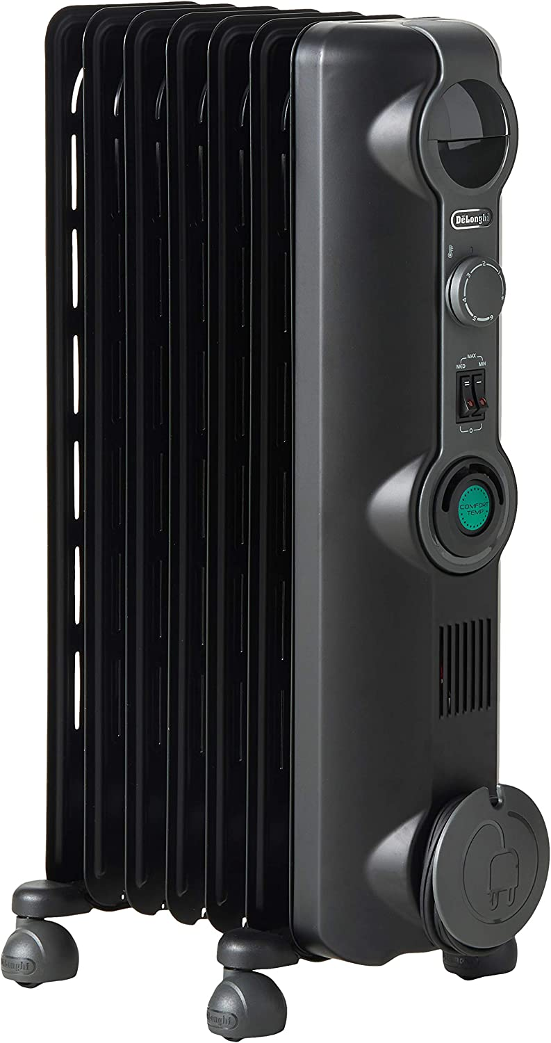 DeLonghi Oil-Filled Radiator Space Heater, Quiet 1500W, Adjustable Thermostat, 3 Heat Settings, Energy Saving, Safety Features, Nice for Home with Pets/Kids, Black, Comfort Temp KH390715CB