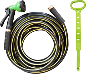 TOP DOG Rubber Garden Hose 15 ft, Heavy Duty Durable Triple Latex Core Hose with 8 Function Nozzle & Holder, Easy Storage Kink Free Water Hose for Garden Watering/Pet Cleaning