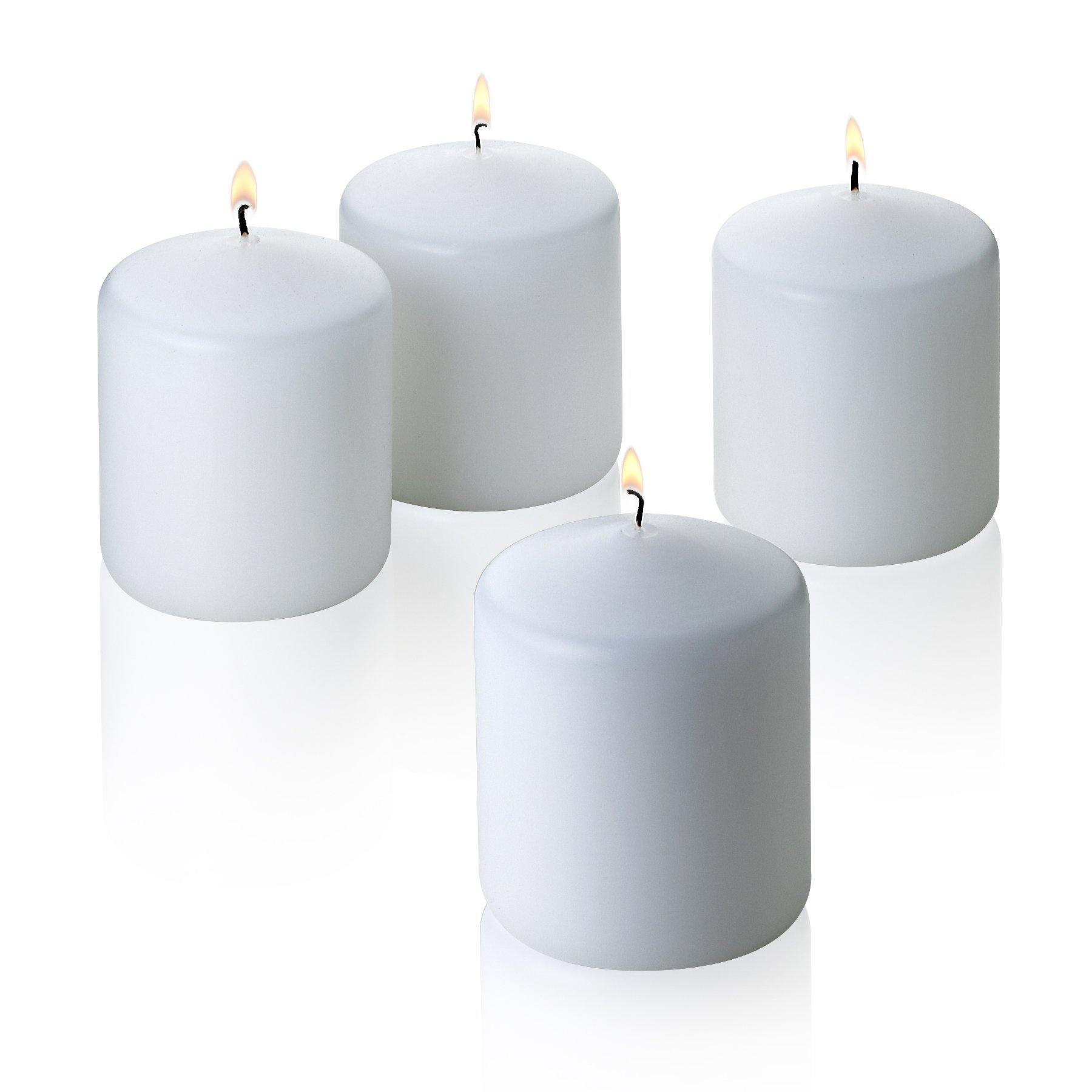 Light In The Dark White Pillar Candles - Set of 4 Unscented Candles - 3 inch Tall, 3 inch Thick -18 hour Clean Burn Time.