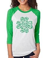 SignatureTshirts Women's Saint Patricks Day Lucky 4 Leaf Clover 3/4 T-shirt