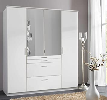 Kleiderschrank, Drehtürenschrank, Drehtürenkleiderschrank, Spiegelschrank,  Schlafzimmerschrank, Wäscheschrank, Alpinweiß, Weiß,