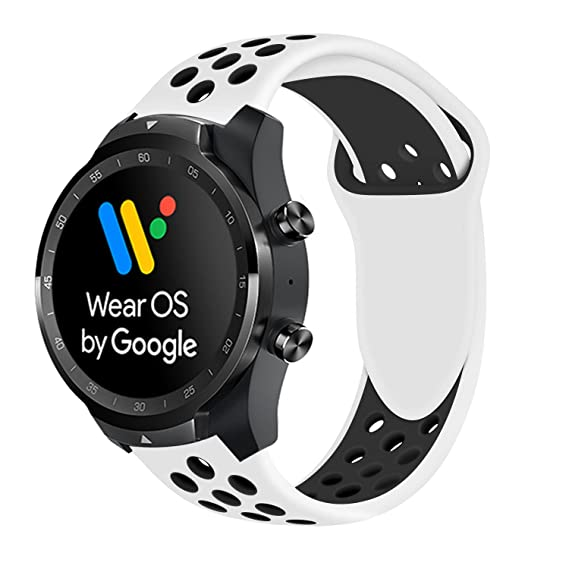 for TicWatch Pro Band, Lamshaw Silicone Sport Band with Ventilation Holes Replacement Straps for TicWatch Pro/TicWatch S2 / TicWatch E2 Smartwatch ...