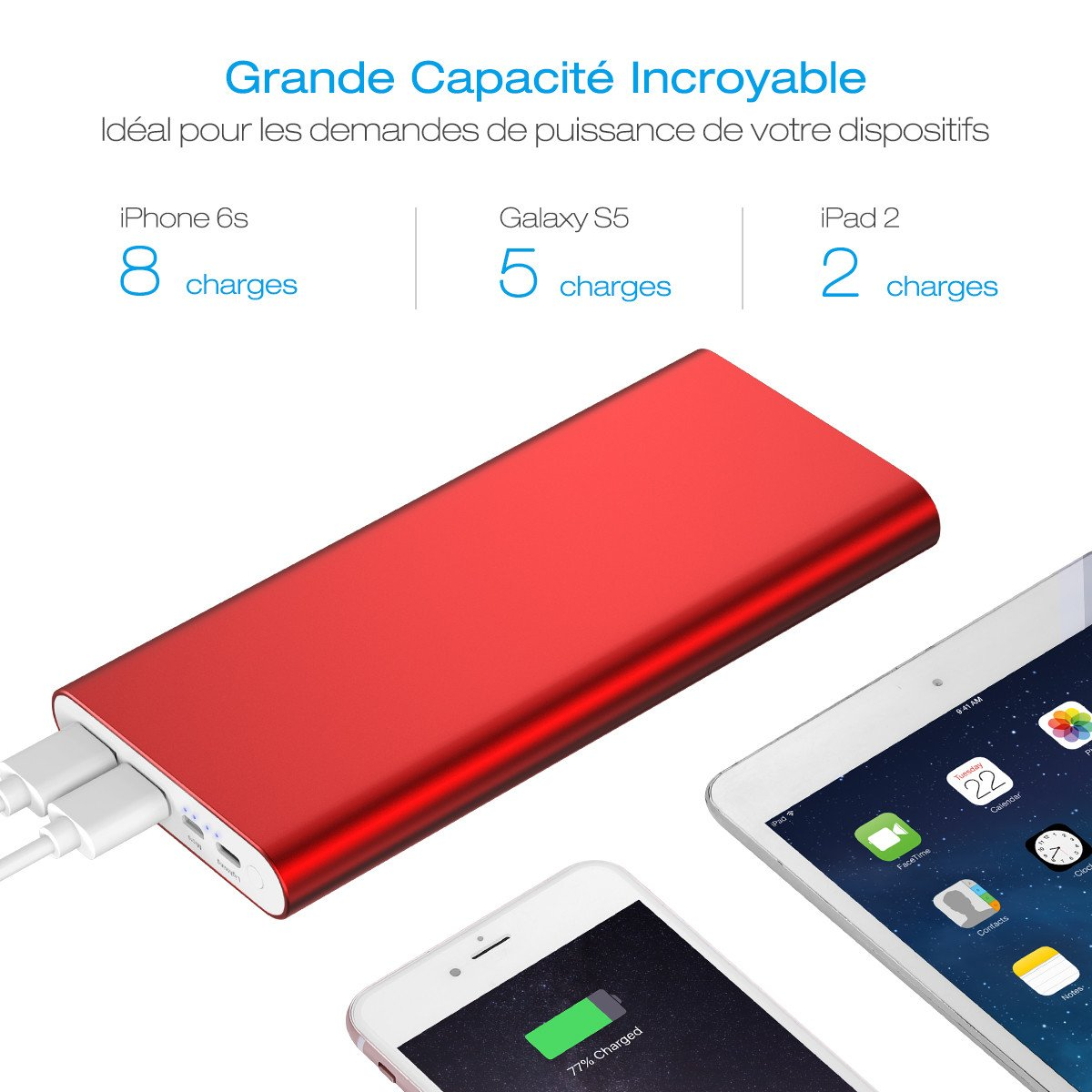 POWERADD Pilot 4GS Plus Chargeur Portable 20000mAh Batterie iPhone avec Double Ports d'Entrée Lightning et Micro USB pour iPhoneX/6S/7 Samsung Galaxy et Les Android Téléphones-Rouge