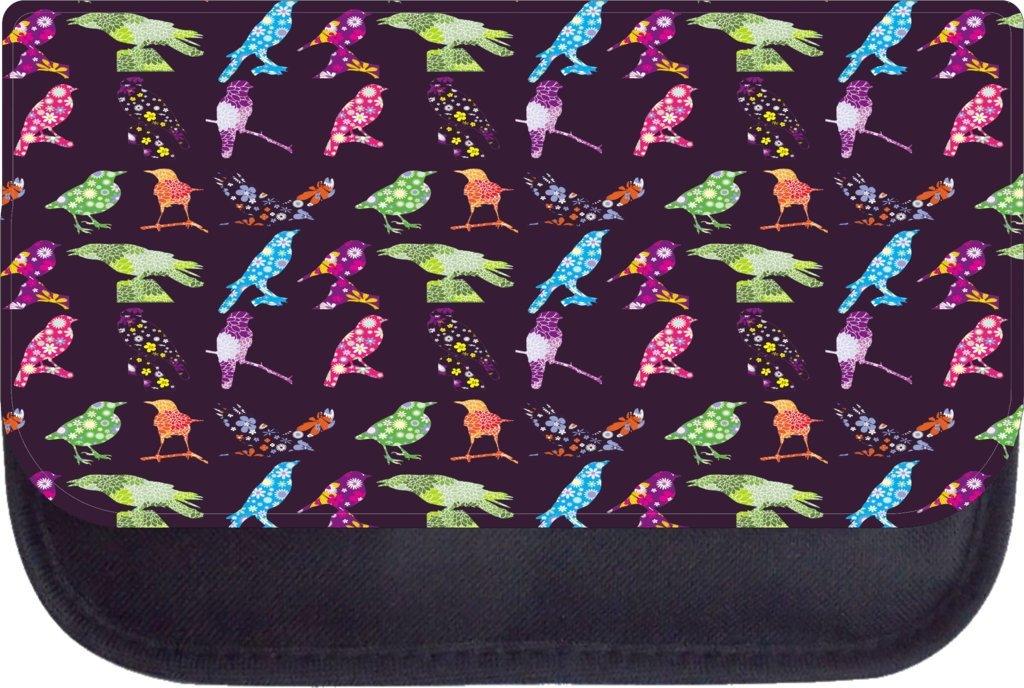 Whimsical birds Rosie Parker Inc TM Medium Sized Messenger Bag 11.75 x 15.5 and 4.5 x 8.5 Pencil Case SET