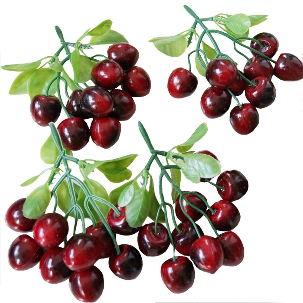 Transcend11 Fake Cherry Bunch of Cherries Artificial Fruits Plants Faux Lifelike Fruits Home Party Kitchen Decoration Hotel Store Display Model Photography Props Kids Prentend Play Toy(Pack of 4)