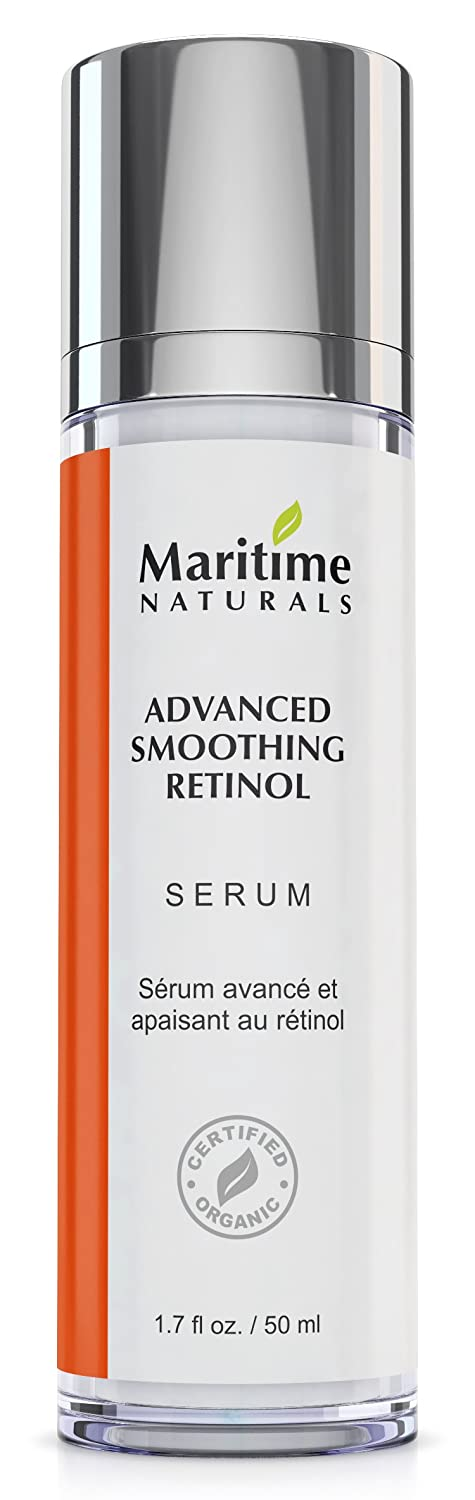 Advanced Retinol Serum 1% By Maritime Naturals – Organic & Natural Retinol Serum With Hyaluronic Acid& Vitamin E – Anti-Aging Retinol Face Moisturizer For Smooth Youthful Skin - Made In Canada – 50ml