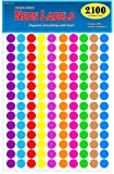 "Pack of 2100 3/4"" Round Color Coding Circle Dot Labels, 10 Bright Neon Colors, 8 1/2"" x 11"" Sheet, Fits Any Printer"