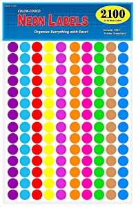 """Pack of 2100 3/4"""" Round Color Coding Circle Dot Labels, 10 Bright Neon Colors, 8 1/2"""" x 11"""" Sheet, Fits Any Printer"""
