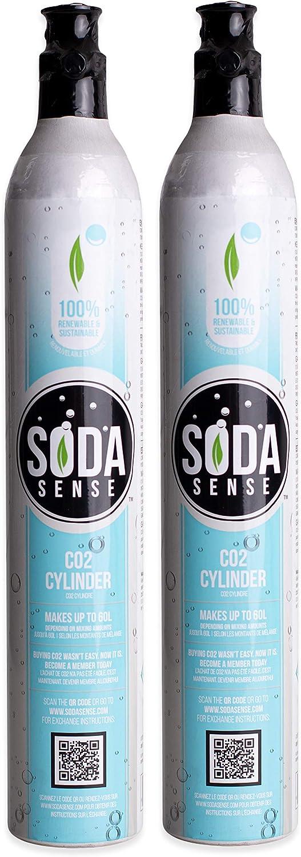 Soda Sense 60L CO2 Carbonator, Compatible with Sodastream Appliances, Cartridge Refill Set of 2 pcs