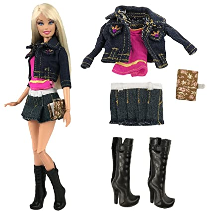 18b872fe3d Amazon.com  BARWA Fashion Jean Clothes Wears Outfit Jean Jacket Pink Top  with Skirt Notepad and Shoes for 11.5 inch Dolls  Toys   Games