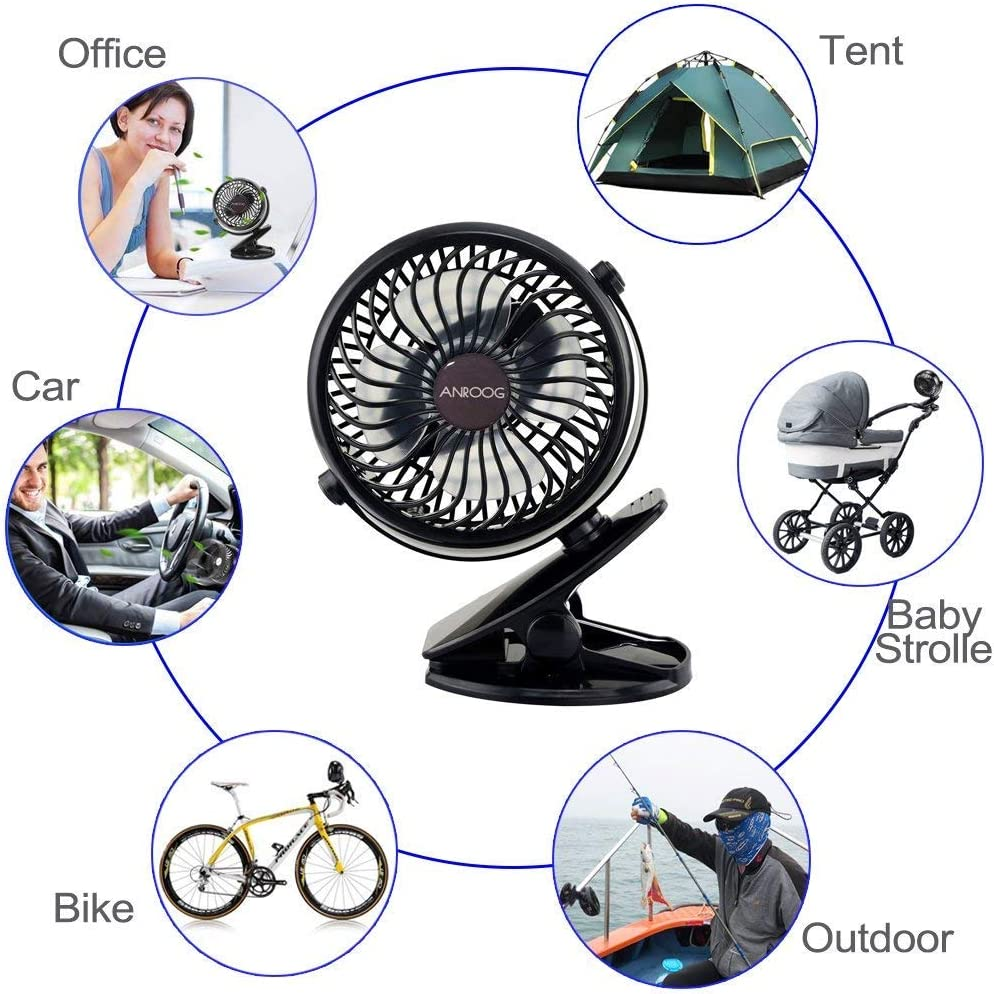 Mini Desk Fan for Baby Travel Stroller Home and Outdoor Black Treadmill Office Car Staroyal Clip Fan 18650 mAh Rechargeable Battery or USB Operated Clip on Fan 360 Degree Rotation