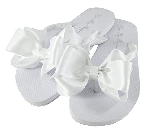 d8f27c85c016f Amazon.com: Customized Colors Bridal Flip Flops Wedding White Bride ...
