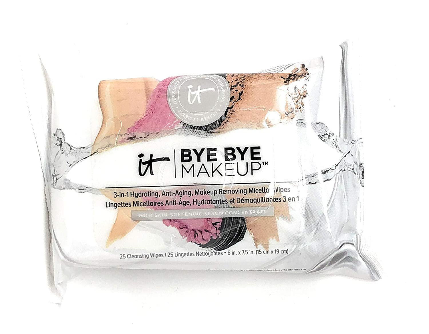 It Cosmetics Bye Bye Makeup 3-In-1 Hydrating, Anti-Aging, Makeup Removing Micellar Wipes 25 ct