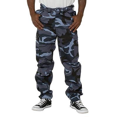 Aerotec Men's Combat Pants - Blue Camouflage Cargo pockets Adjustable waist