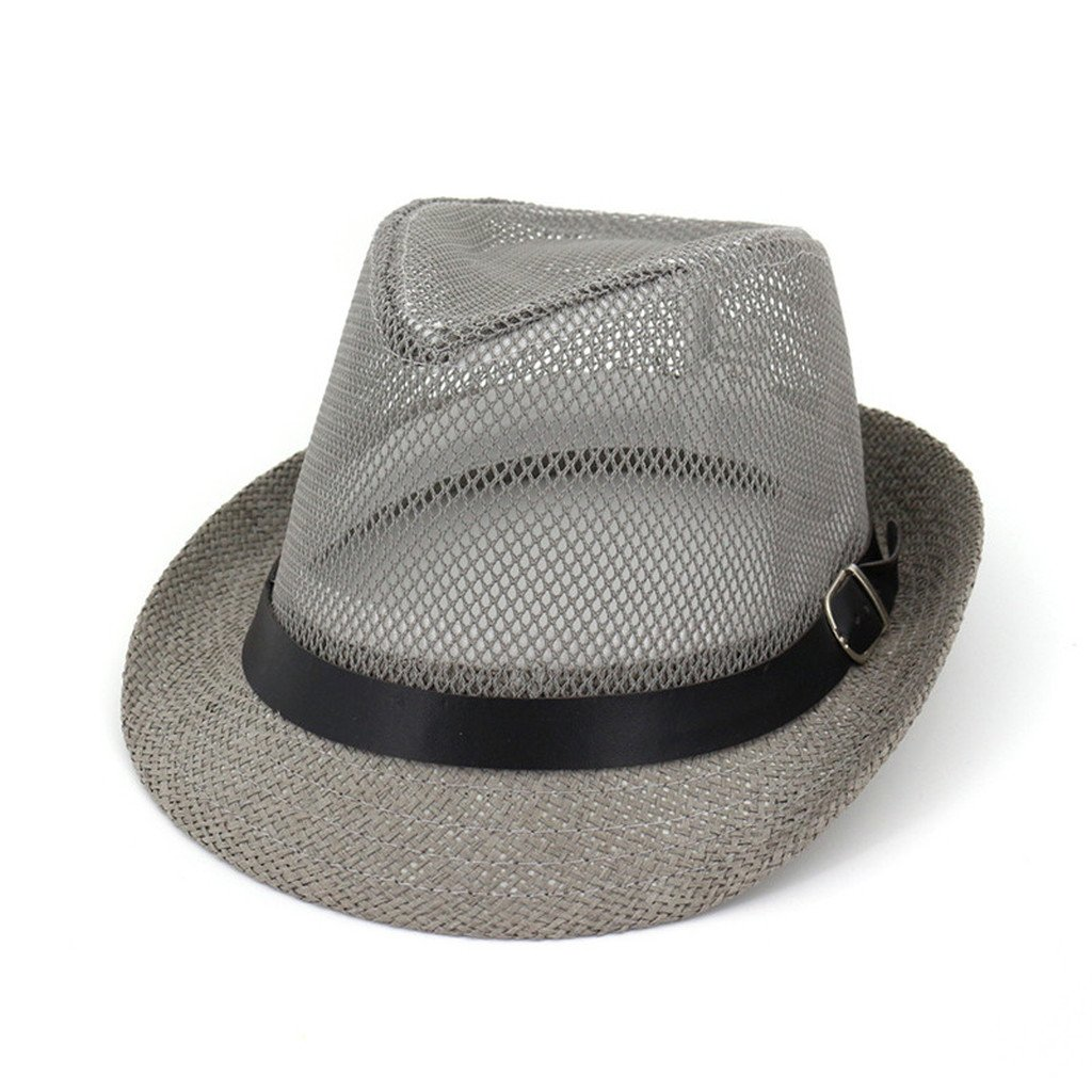 AOBRITON Male Sunbonnet Summer Mesh Fedoras Straw Hat Breathable Summer Panama Jazz Cap