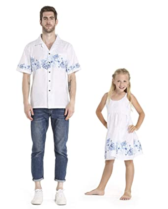 c5e18321901e Matching Father Daughter Hawaiian Dance Shirt Dress White with Blue Hibiscus  Men S Girl 10