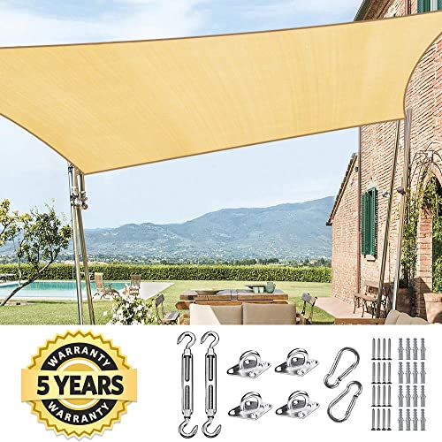 Quictent 185HDPE Rectangle Sun Shade Sail Outdoor Patio Lawn Garden Canopy Top Cover 98 UV-Blocked 26 x 20 ft, Sand with Hardware Kit