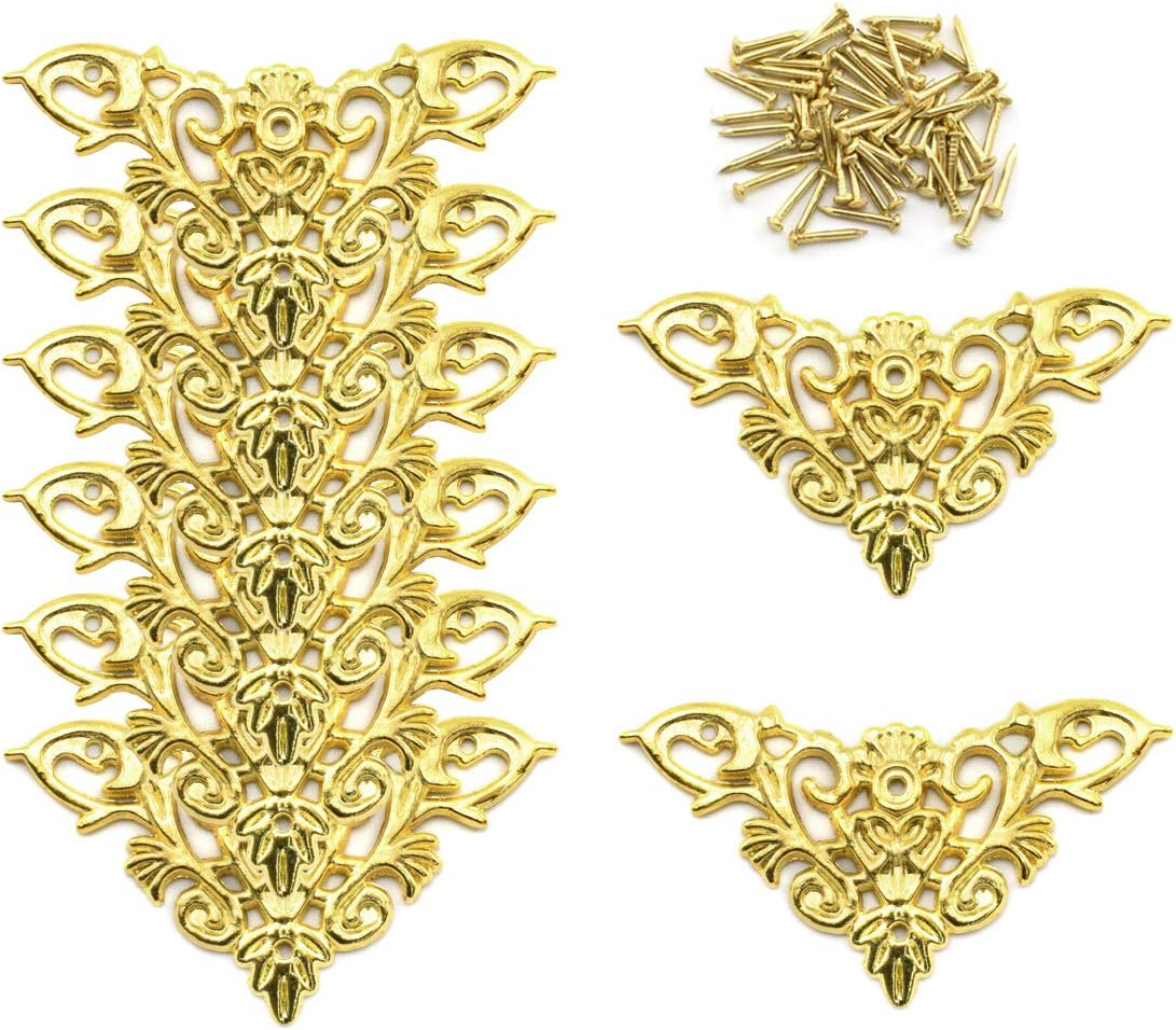 Furniture Decorative Edge Cover, OZXNO 8-Pack Vintage Golden Carved Zinc Alloy Corner Protector for Cabinet Jewelry Box Album Drawer