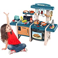 Kids Kitchen Set Pretend Play Kids Blue Play Kitchen Playset Toy with Realistic Lights & Sounds,Play Oven & Sink,Other…