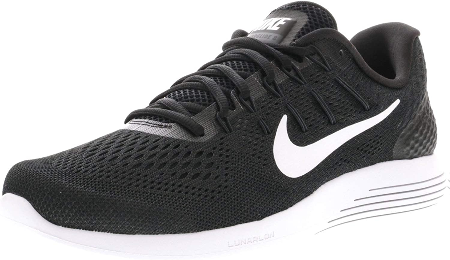 Nike Mens Lunarglide 8 Running Shoe, Black White-Anthracite,