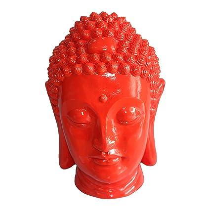 HOMEA 5dej1336ro Estatua Dibujo Cabeza Buda Magnesia 35 x 34 x 52 cm, Color Rojo