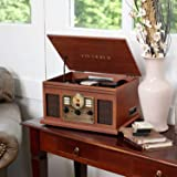 Victrola Nostalgic 7-in-1 Bluetooth Record Player & Multimedia Center with Built-in Speakers - 3-Speed Turntable, CD & Casset