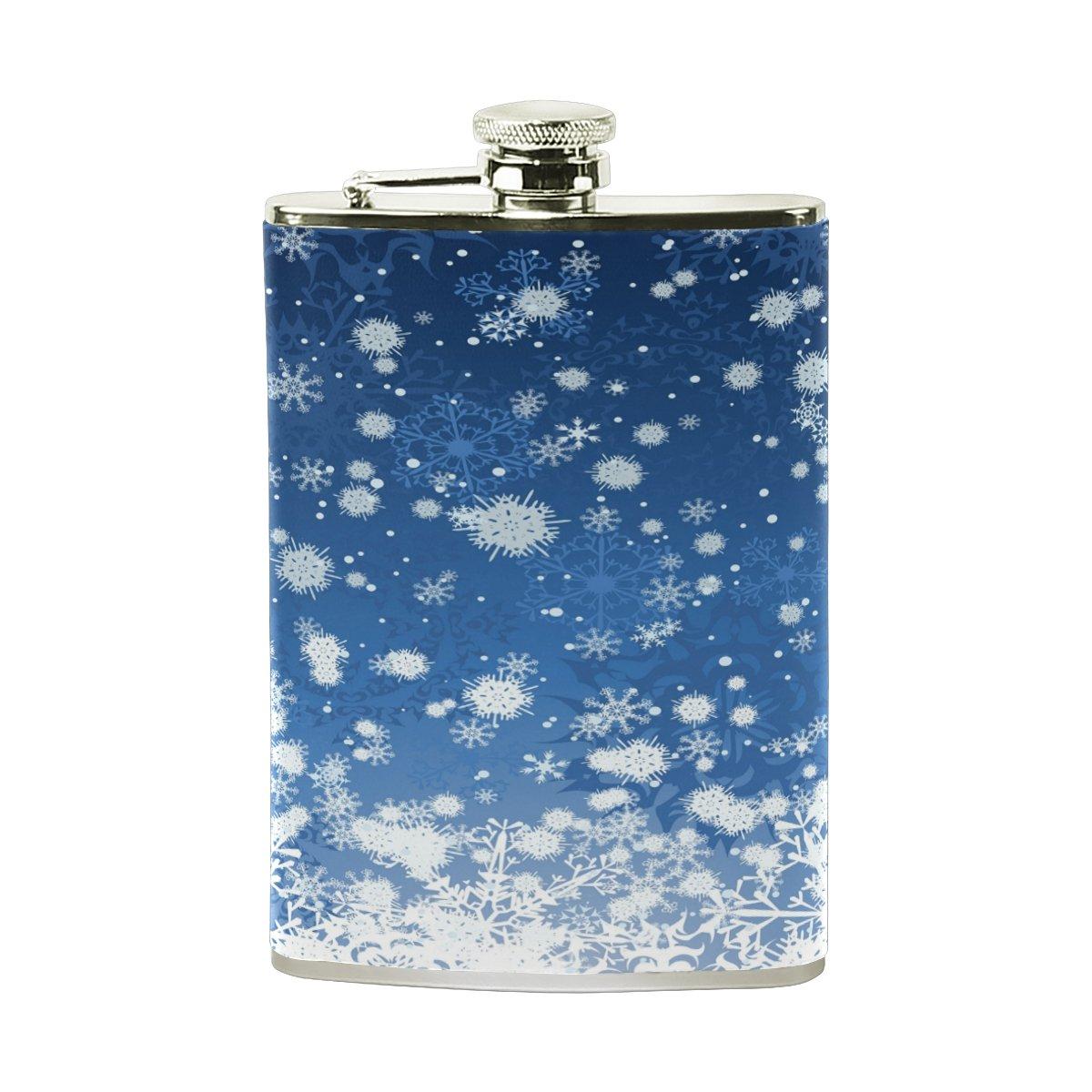 【タイムセール!】 Alaza Snowflageヒップフラスコステンレススチール8オンスポケットショットのフラスコLiquor Whiskey VodkaラムPUレザーWrapped % Proof 100 % Leak Proof Whiskey B075ZSGP44, APOA:43329791 --- a0267596.xsph.ru