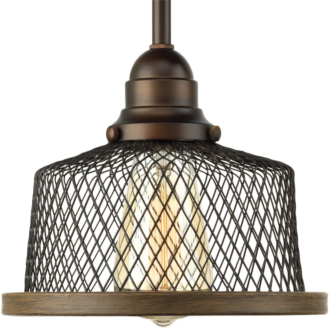 Luxury Vintage Pendant Light, Small Size: 7''H x 8''W, with Industrial Chic Style Elements, Olde Bronze Finish, UHP2731 from The Eugene Collection by Urban Ambiance