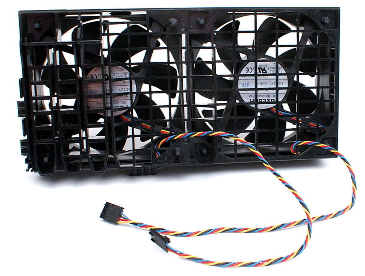 Genuine Dell DC 12V 4 Wire 5-pin Dual Cooling Fan Assembl...