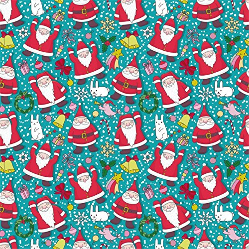 AOFOTO 5x5ft Cute Santa Claus Pattern Photography Studio Backdrops Christmas Cartoon Photo Shoot Background Party Decor Wallpaper Xmas New Year Video Props Kid Baby Girl Infant Artistic Portrait (Claus Santa Christmas Portrait)